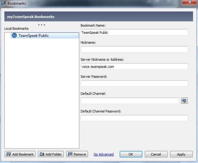 Teamspeak 3 bookmarks configuration