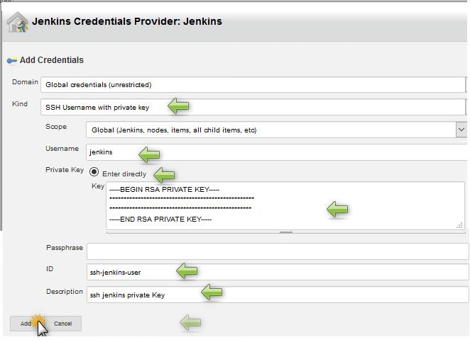 add ssh private key jenkins