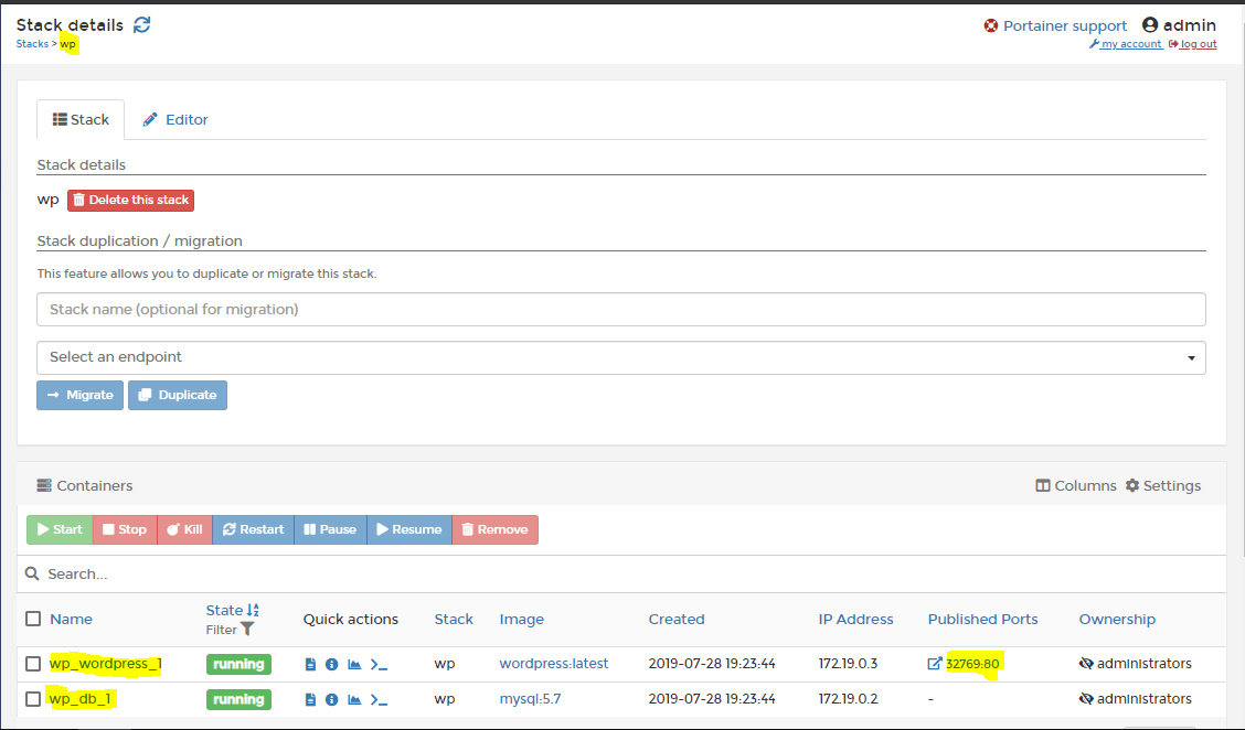 Install Portainer- Portainer WordPress Stack details