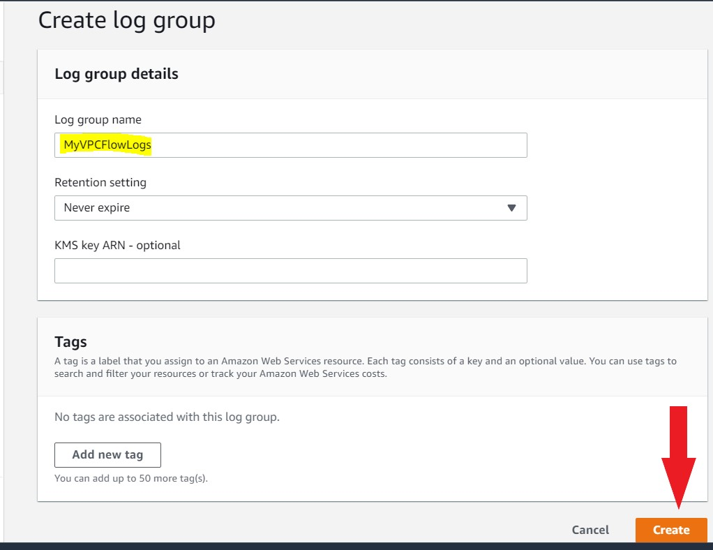 Create cloudwatch log group for vpc flow logs