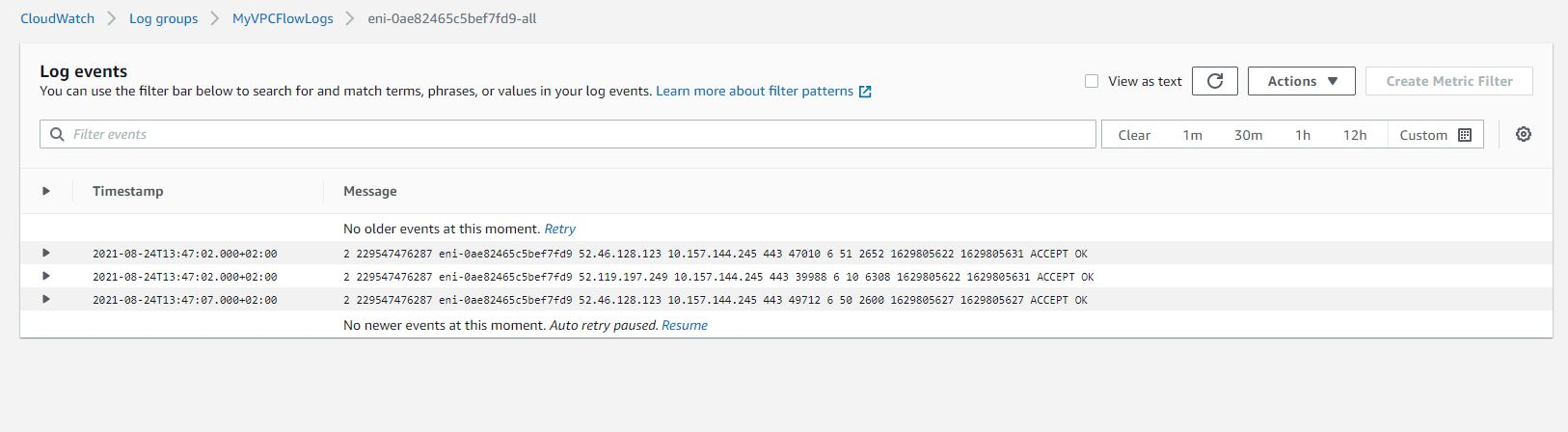 Create vpc flow logs Cloudwatch log example