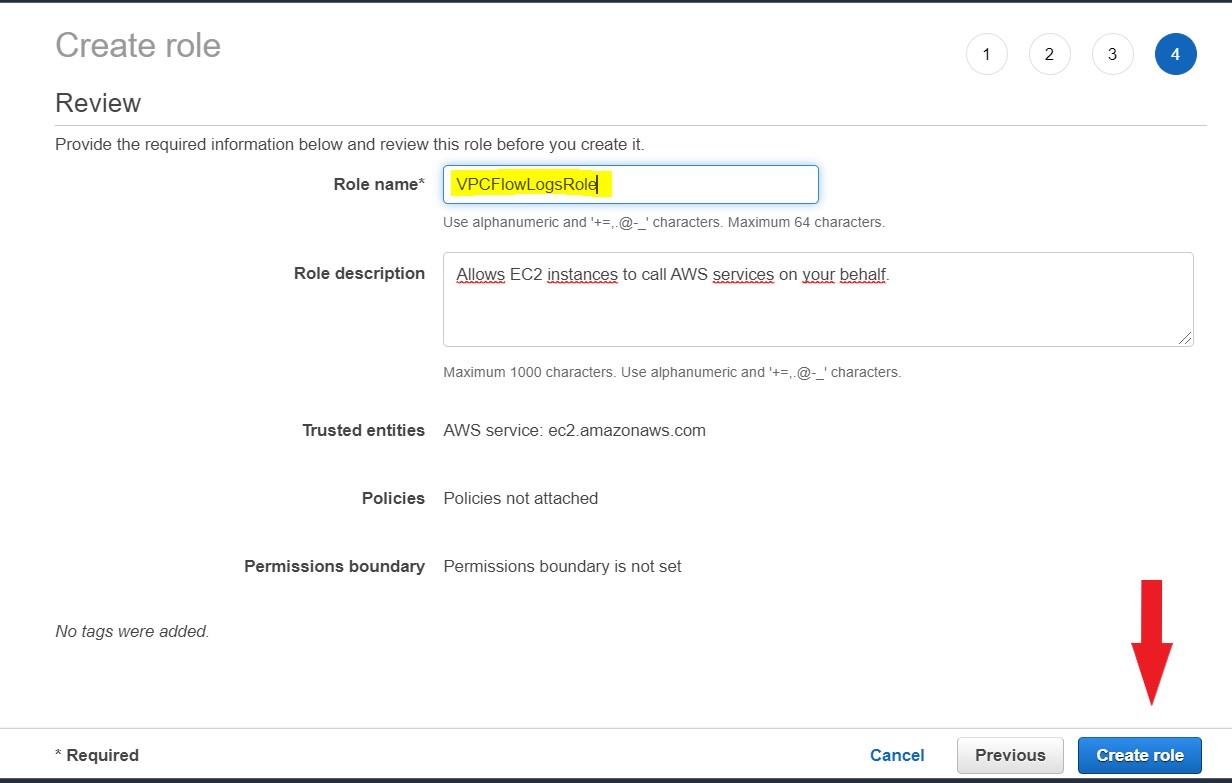 Create vpc flow logs iam role