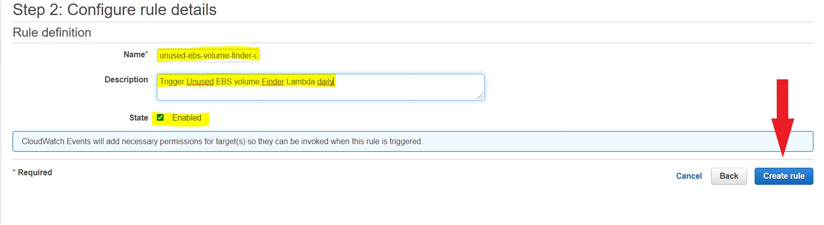 Unused ebs volumes create and enable CloudWatch Events rule
